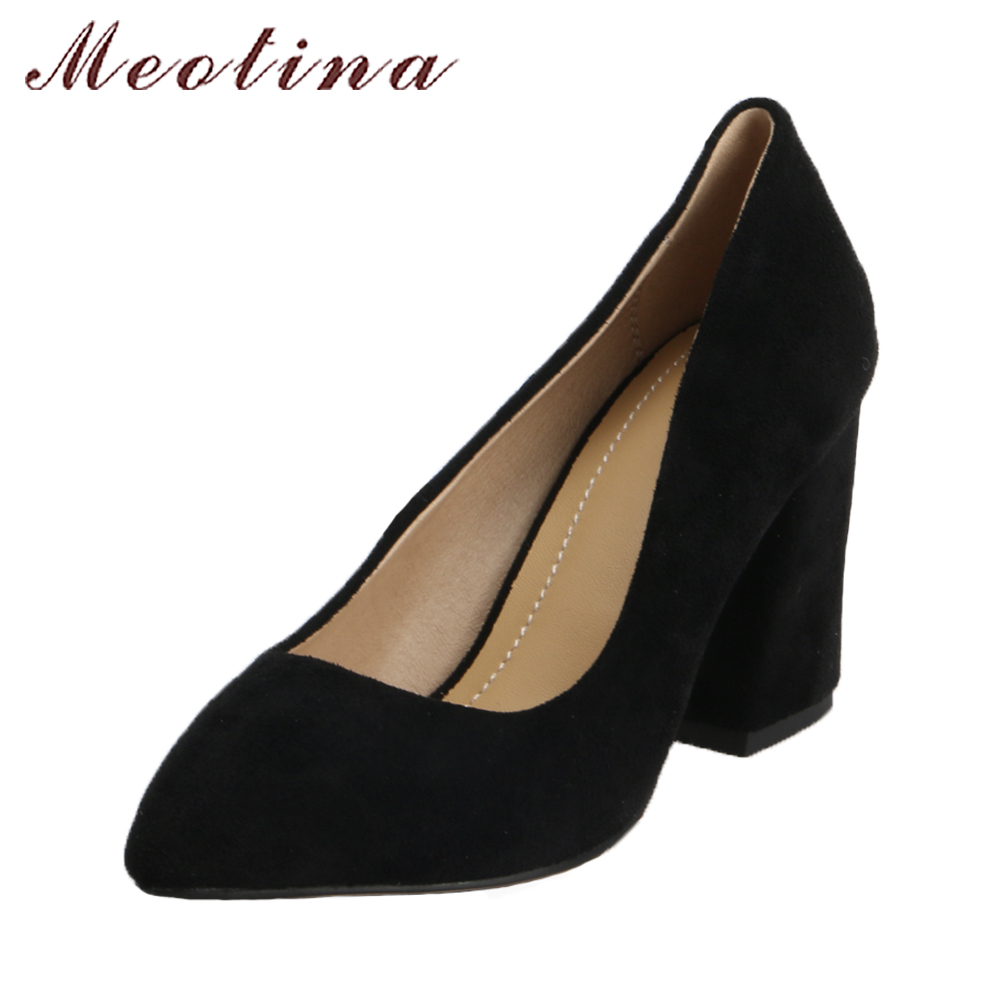 Meotina 2018 Women Shoes Thick High Heels Pumps Slip On Pointed Toe Sexy High Heels Office Shoes Black Female Large Size 42 43 orange pointed toe pump women shoes sexy slip on women pumps real image thin high heels ol pump shoes large size 8 heels