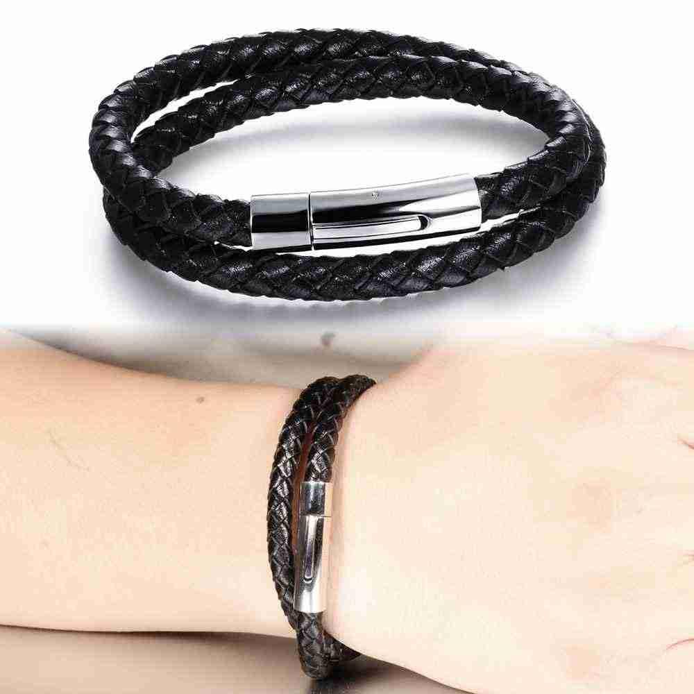 Moda prawdziwej skóry bransoletki dla mężczyzn bransoletki ze stali nierdzewnej i bransolety moda na co dzień Sport akcesoria (JewelOra BA101948)