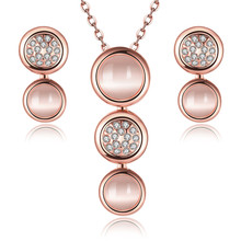 jewelry sets 18k rose gold plated wedding women opal circular lovers gift dubai party fashion necklace earrings crystal jewelry