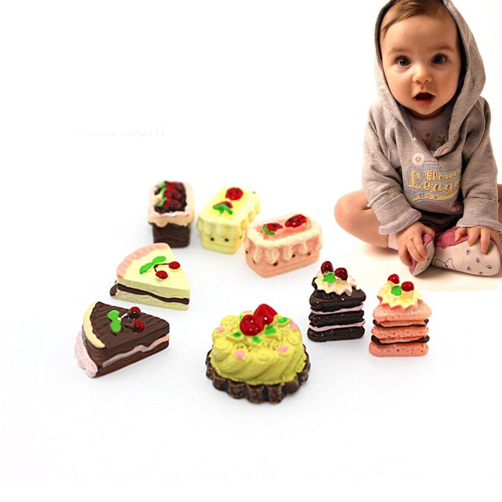 8 Pcs Kawaii Flat Back DIY Mini Resin Cake Dollhouse Food Scene Miniature Cake Accessories Toy Pretend Play Cooking Kitchen Set