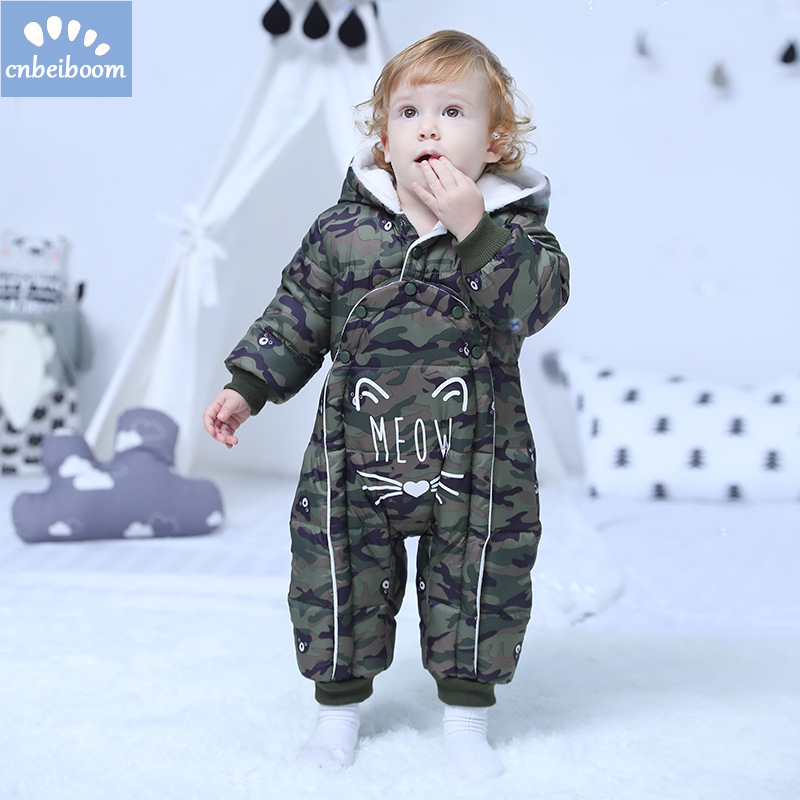 2018 Baby Rompers Baby Thermal cotton Winter Snowsuit Baby Hooded Jumpsuit Newborn Baby Boy Clothes Ski Suit Down outwear kids rompers newborn baby girl duck down winter snowsuit baby cute hooded jumpsuit baby boy clothes ski suit red blue jacket