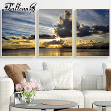 FULLCANG 3pcs diy diamond embroidery sale seascape & clouds painting triptych full square/round drill 5d mazayka FC922