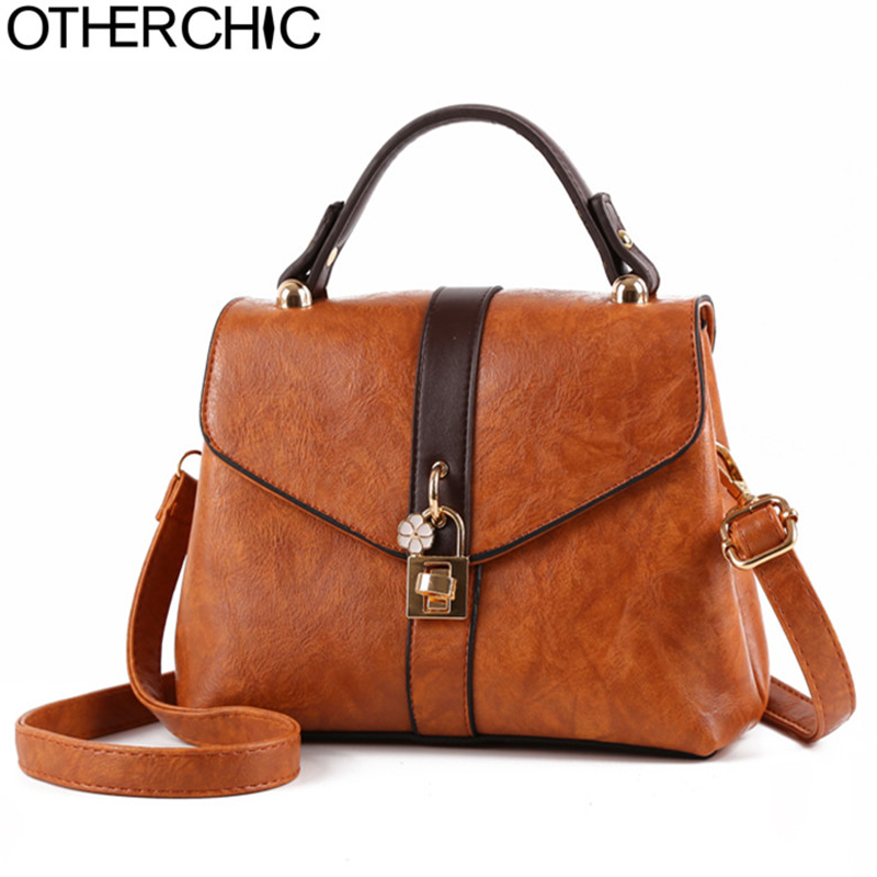 OTHERCHIC Vintage Chic Messenger Bags Fashion Women Designer Handbags Cross body Shoulder Bag Top Handle Small Tote L-7N09-07 ecosusi new fashion women messenger bags casual women leather handbags vintage women shoulder cross body bags bolsos bag