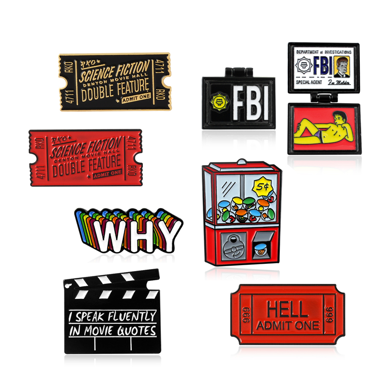 Movie Ticket Science Fiction <font><b>Horror</b></font> Movie Admission Ticket HELL Brooch Slot Machine Game WHY Badge FBI Flip Enamel Pin Punk Gift image