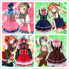 купить Hot! Japanese Anime Love Live! Cosplay Costumes Tojo/ Umi/ Eli/ Hanayo/Nico/Rin Candy Maid Uniform Princess Lolita Cosplay Dress по цене 1695.49 рублей