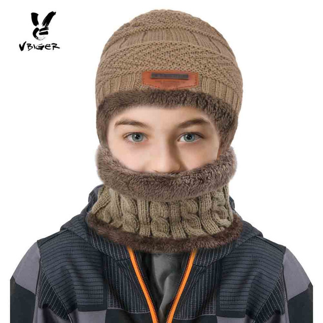 Vbiger 2pcs Kids Winter Warm Knitted Hat Children Cap Skullies Beanies  Circle Scarf with Thicken Fleece Lining for Boys Girls 710045adf647
