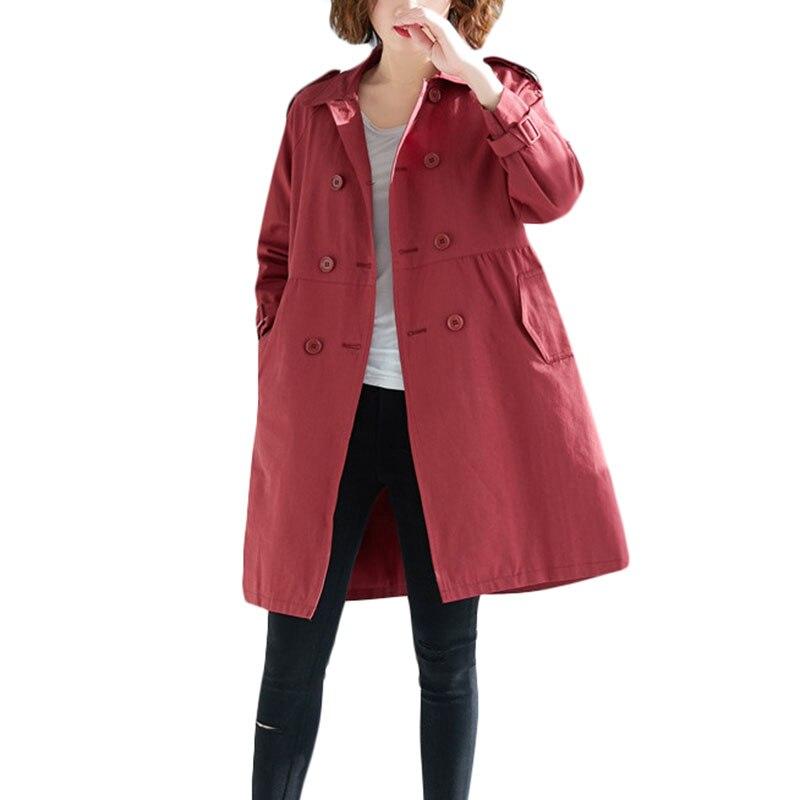 Elegant Women Windbreaker Coat Autumn Fashion Slim Overcoats For High quality Women's Korean Loose Khaki   Trench   Coats 4XL A1126