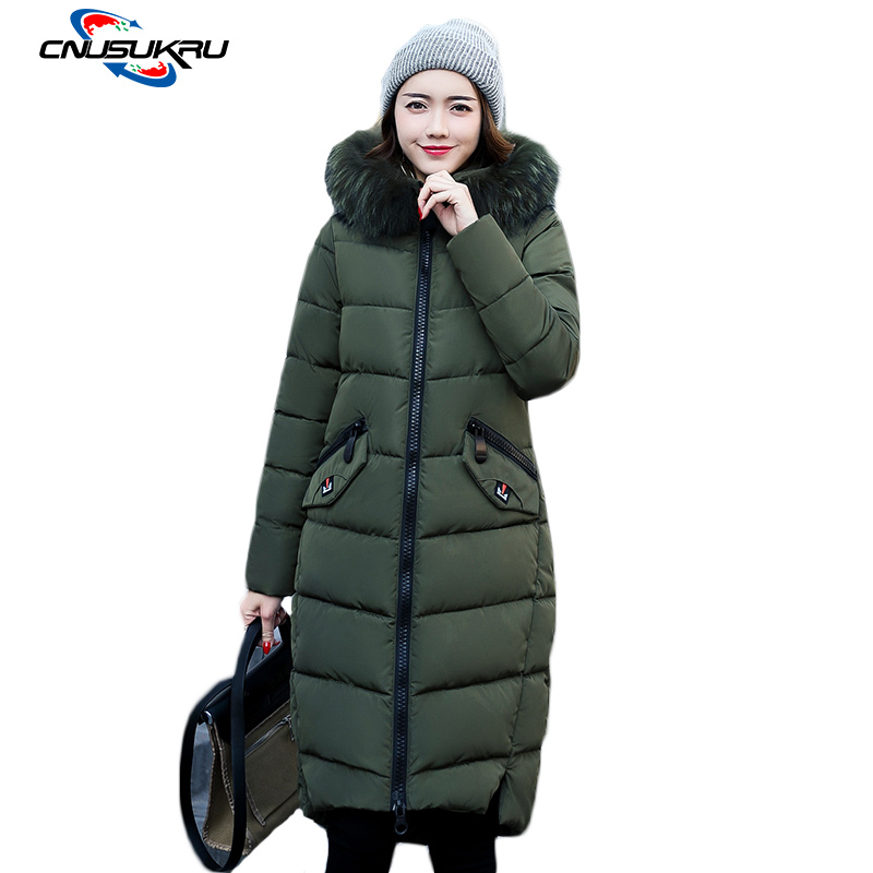 2017 advanced Snow clothing Winter Coat Women Fur Collar Thick warm Jackets Hooded long Outwear down Cotton-padded parkas
