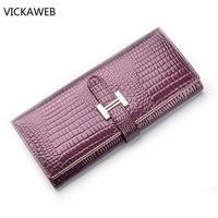 2016 Luxury Brand Women Genuine Leather Wallet Long Crocodile Pattern Women Wallets Ladies Coin Pruse With