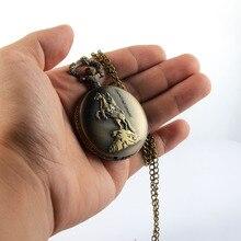 Vintage Knight Horse Flip Quartz Pocket Watch Memorial Carved Openable Steampunk Necklace Pendant Clock Chain Men Women Gifts