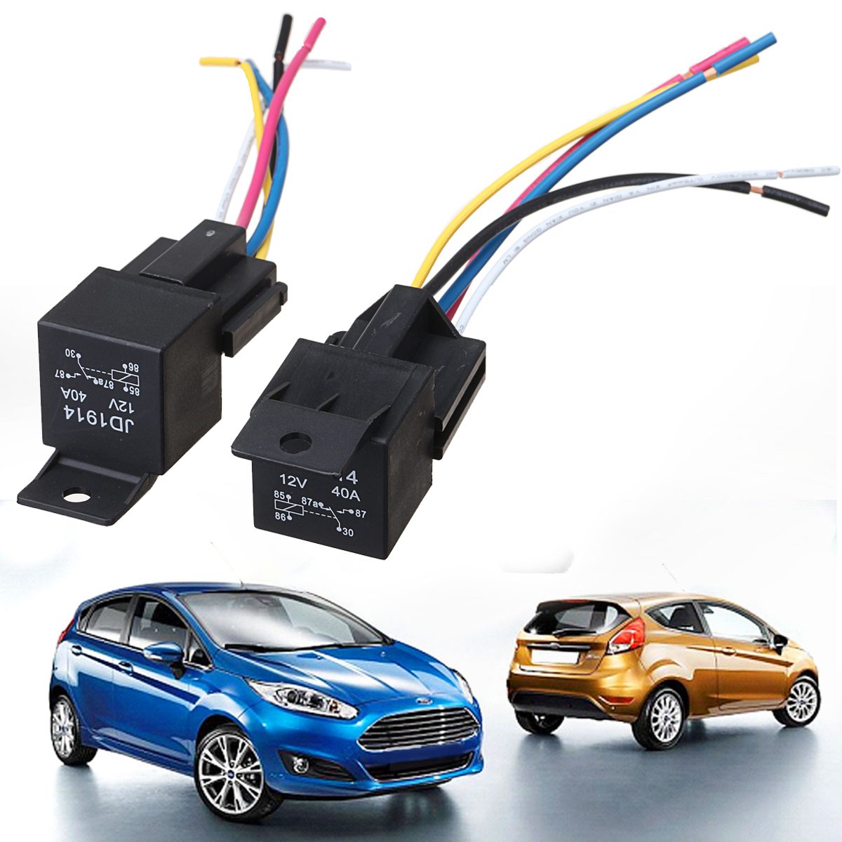 5pcs Car Spdt Automotive Relay Dc 12v 5 Pin 5 Wires W   Harness Socket 30  40 Amp Car Accessories