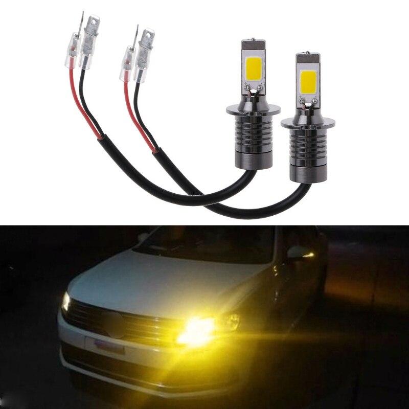 2X H3 80W Strobe Flash LED Bulbs Car Fog Driving Light Lamp Yellow Amber 3000K