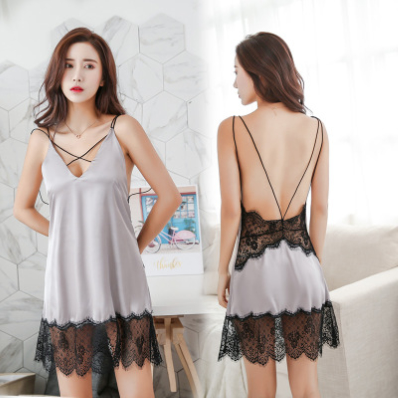 Solid Color V neck Night Dress Women Sexy Lingerie Nightgown Sleeveless Lace Sleepwear Hollow Out Backless Sleeping Dress Summer in Nightgowns Sleepshirts from Underwear Sleepwears
