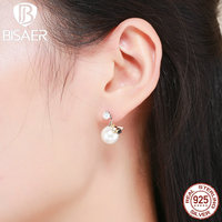 Vintage 100 925 Sterling Silver Cute Bee Korean Round Earrings For Women Authentic 925 Silver Jewelry