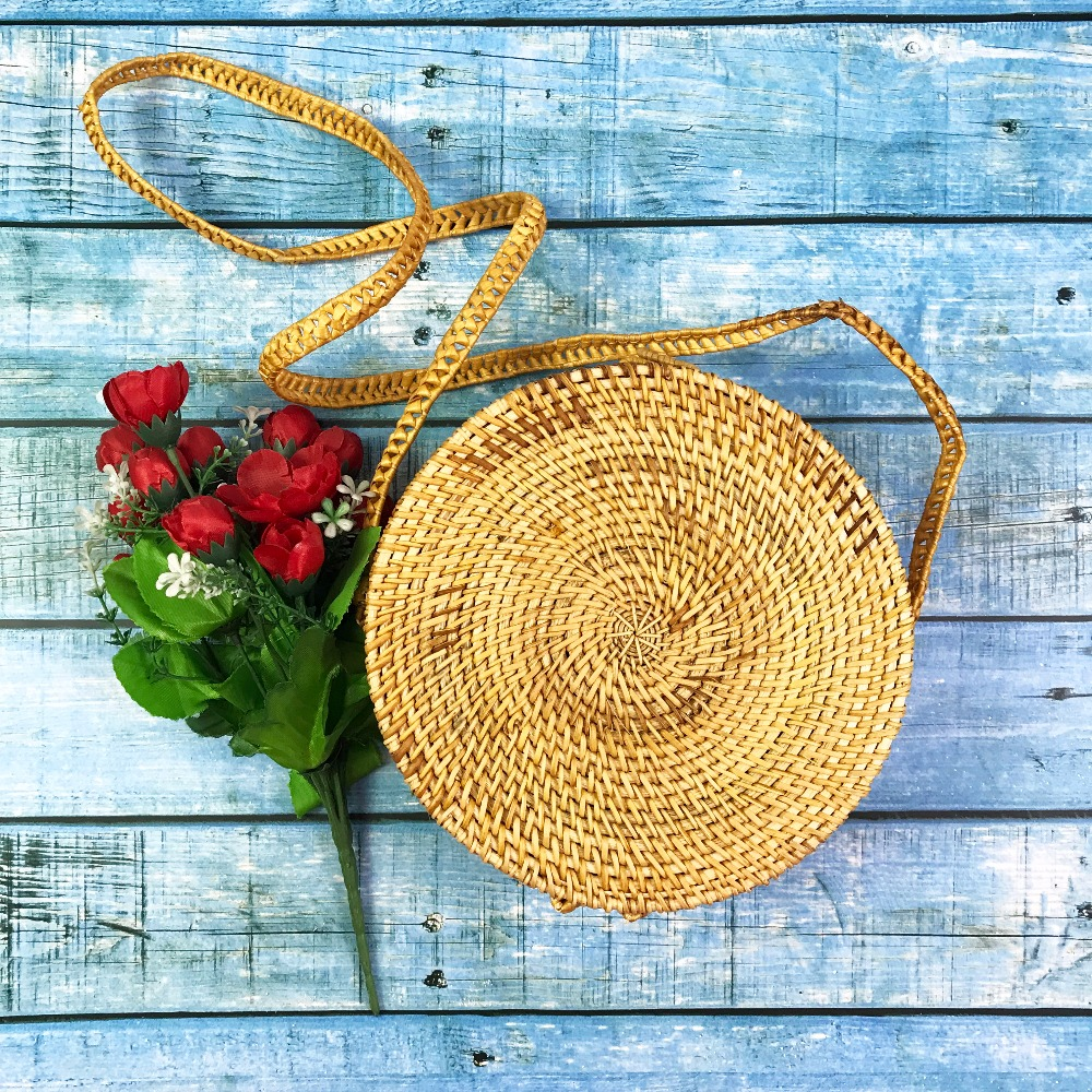 Summer Vintage Rattan Bag Handmade Kintted Women Straw Woven Handbags Summer Bags For Women Small Circle Beach Handbags handmade flower appliques straw woven bulk bags trendy summer styles beach travel tote bags women beatiful handbags