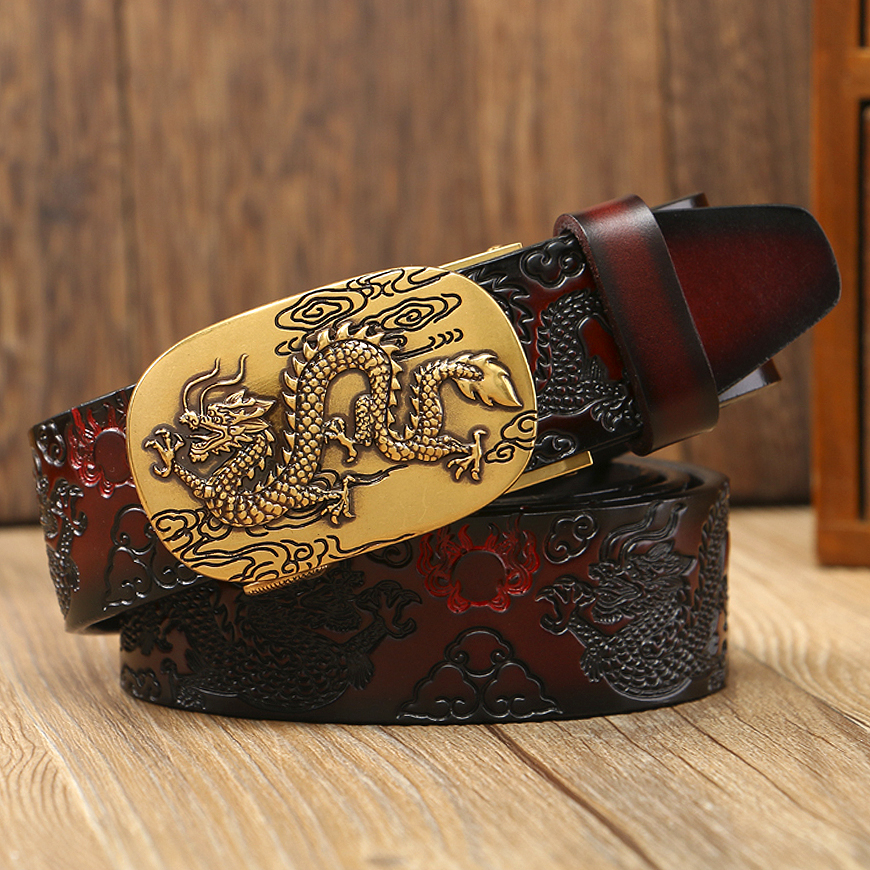 New High Quality Men Dragon Belt Genuine Leather Vintage Alloy Buckle Belts for Man Cowskin Pressed Stap Causal Waist Belt Male in Men 39 s Belts from Apparel Accessories