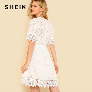Image 2 - SHEIN Lace Trim Eyelet Embroidered Dress Women White Deep V Neck Half Sleeve Cut Out Plain Dress 2018 Summer Sexy Cotton Dress