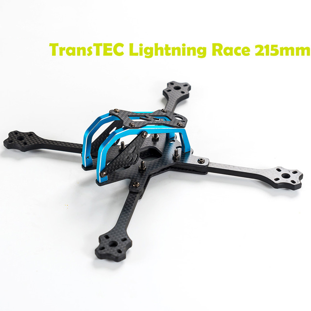 Newest TransTEC for Lightning Race 215mm 4mm 3K Full Carbon Fiber Frame Kit Blue / Sliver for RC Racing Racer Drone Toy DIY 2017newest transtec 215mm 5mm 3k full carbon fiber frame kit for lightning race blue sliver for rc racing racer drone toy diy