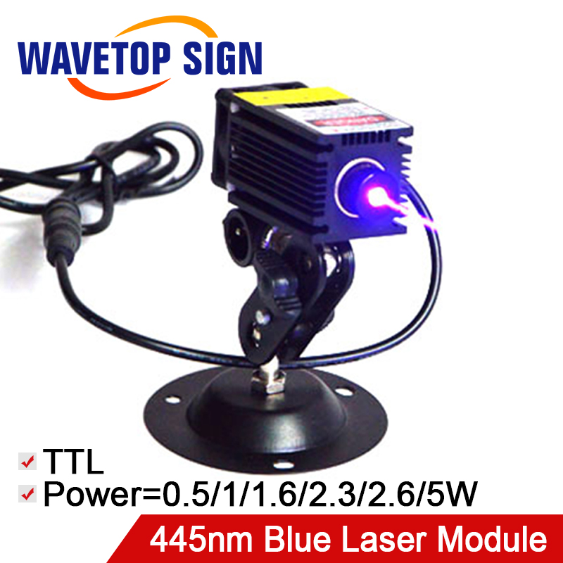 Blue Laser Module 445nm 0.5W 1W 1.6W 2.3W 2.6W 5.5W  DC12V Power Supply TTL Control Signal For Laser Engraving Machine