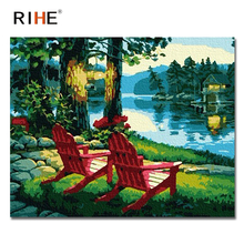 RIHE River Park Diy Painting By Numbers Abstract Chair Oil On Canvas Cuadros Decoracion Acrylic Wall Picture For Room