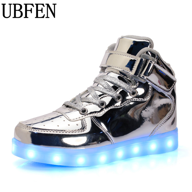 Ilumina led luminoso de los hombres zapatos de alta top brillante caliente mascu