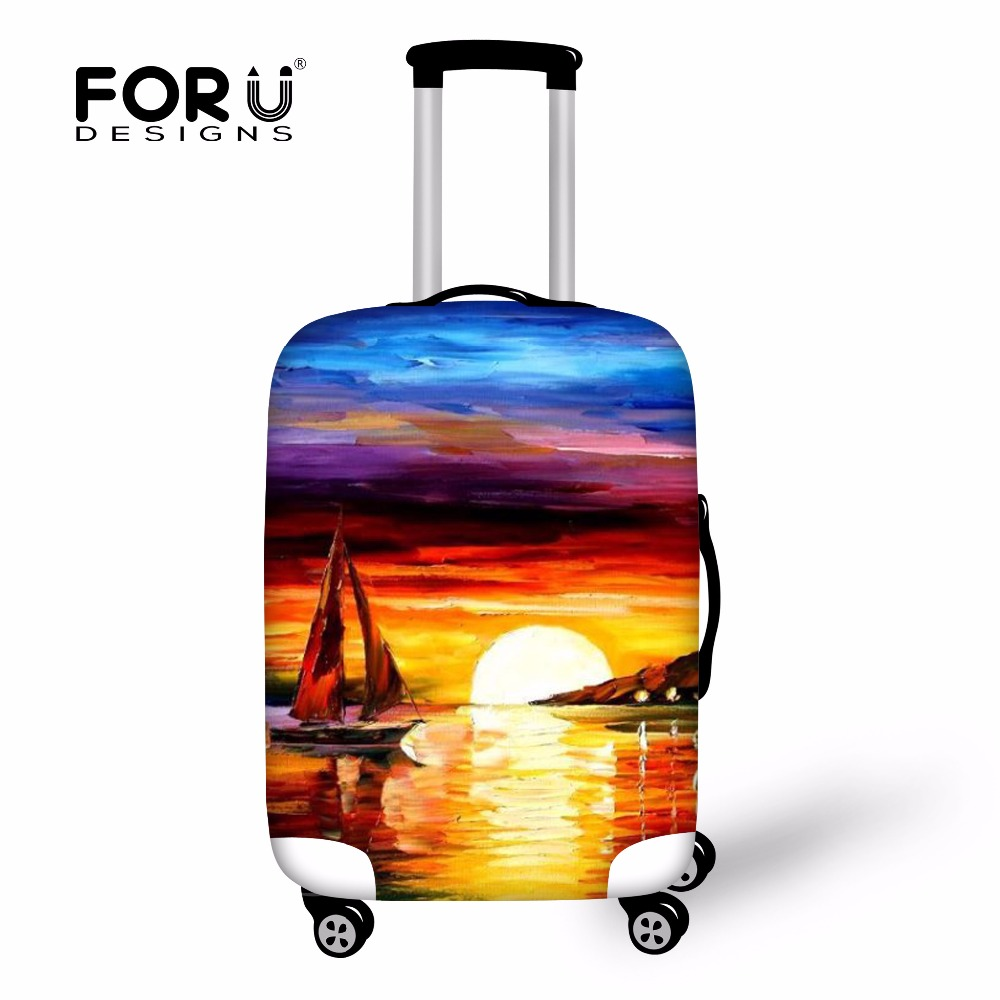 Colorful Painting Sunset Luggage Protective Cover Waterproof Dustproof Clear Protector Covers for Trolley Suitcase Elastic Thick