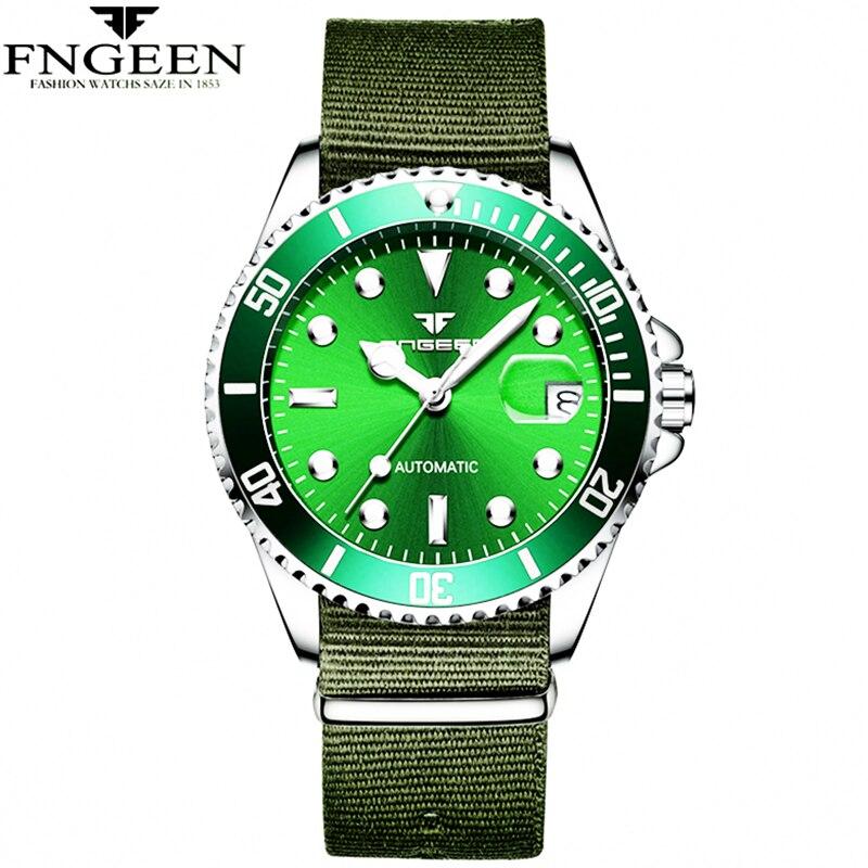 цена Army Green Men Automatic Watches Mechanical Military Sports Clock Fashion Nylon Band Man Wrist Watch FNGEEN Brand Male Relogio онлайн в 2017 году