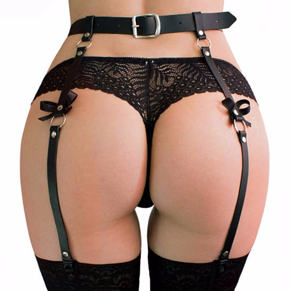 New Handmade Sexy Harajuku Faux Leather Bow Garter Belts Leg Ring Suspenders Straps Men Women Unisex Pun O-ring Waist Belt