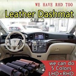 Dla nissana Elgrand 2010 2018 2011 2012 2013 skórzane Dashmat pokrywa deski rozdzielczej Dash dywan niestandardowy samochód stylizacji parasol LHD + RHD na