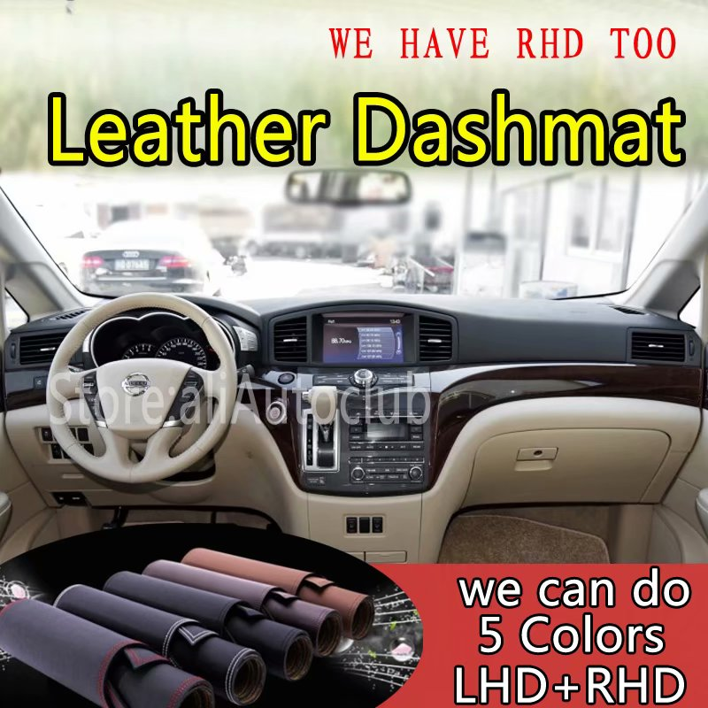 For Nissan Elgrand 2010-2018 2011 2012 2013   Leather Dashmat Dashboard Cover Dash Carpet Custom Car Styling Sunshade LHD+RHD
