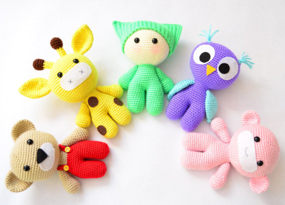 Amigurumi  Baby And Animal Friends Crochet Toy  Crochet Owl Giraffe Bear Monkey Doll Rattle