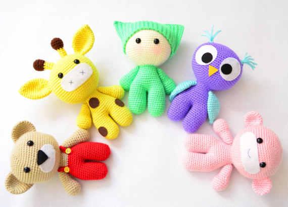 Amigurumi Детские и животные друзья вязаная игрушка крючком сова Жираф Медведь обезьяна кукла погремушка