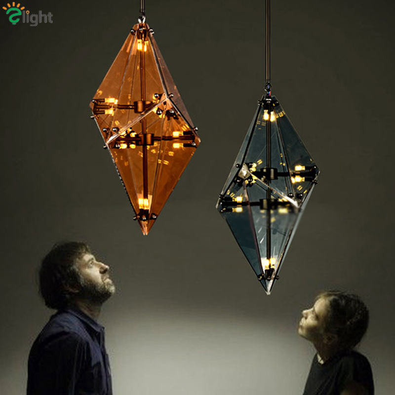 Maxhedron Geometric Suspension Lamp Lustre Diamond Shape Led G9 Pendant Light Plated Mirrored Glass Gray/Amber Hanging Light creative modern led pendant light diamond grey amber cognac crystal glass g4 led bulb fixture lustre cristal suspension lamp