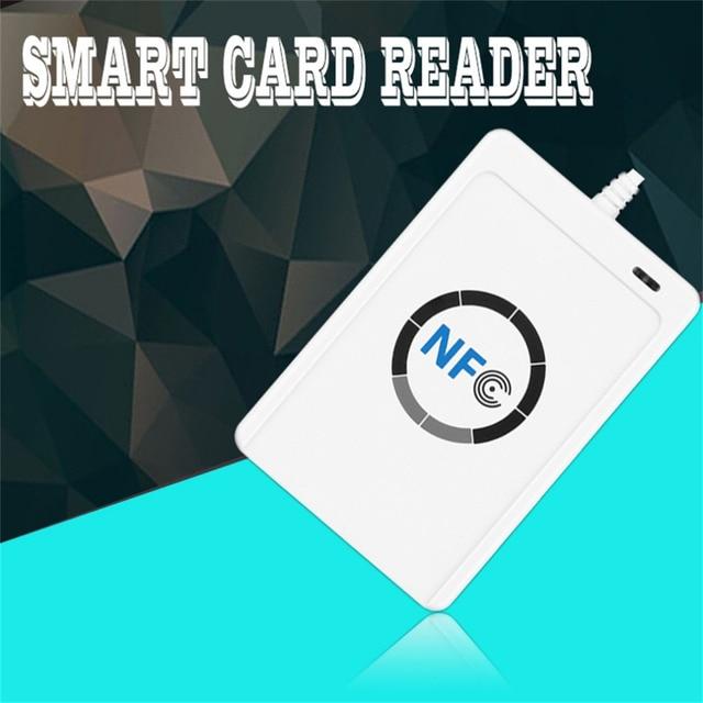 1 Unidades Profesional USB ACR122U NFC RFID Smart Card Reader Escritor Para los 4 tipos de NFC (ISO/IEC18092) etiquetas + 5 unids M1 Tarjetas Caliente