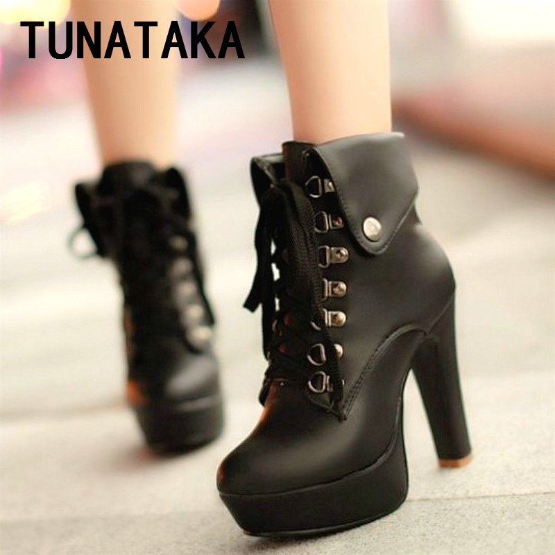9131813941b Lace Up High Heel Ankle Boots for Women Platform Chunky Block Heel Short  Fashion Booties Shoes Black Brown White Apricot-in Ankle Boots from Shoes