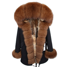2018 MaoMaoKong natural real Rabbit Fur liner women parkas natural fox fur Hooded winter Jacke coat long fur Parka outerwear