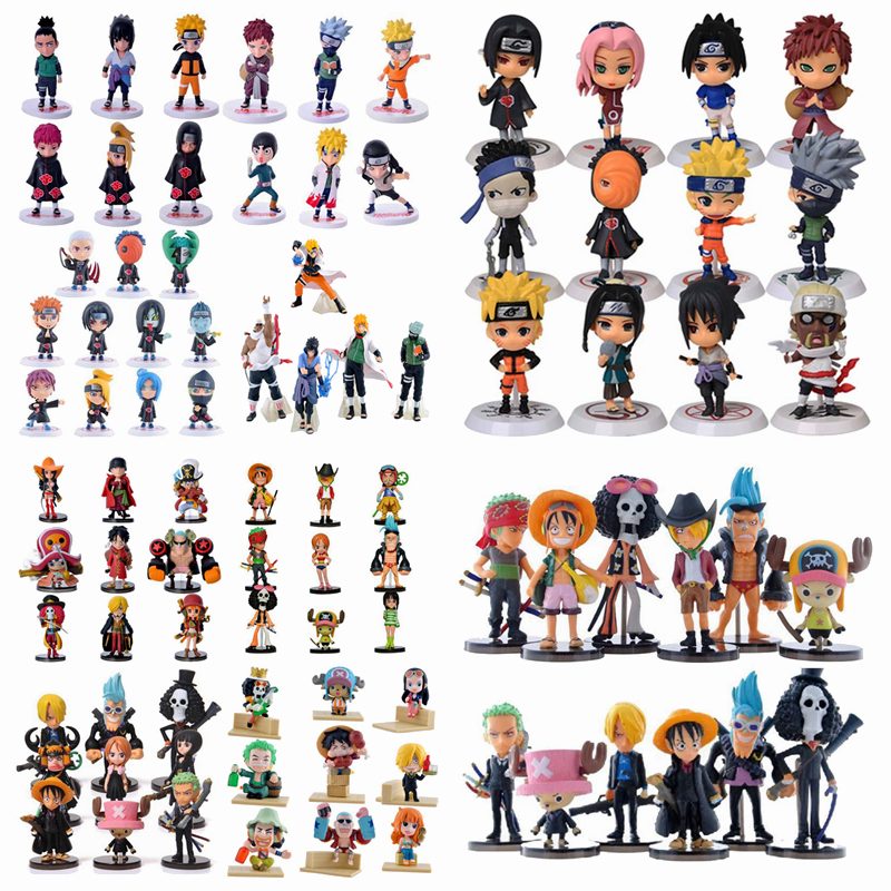 Anime One Piece Figures Naruto PVC Action Figure Toys Cute Mini Figure Model Dolls Collection Brinquedos Full Set Hot Sale цена