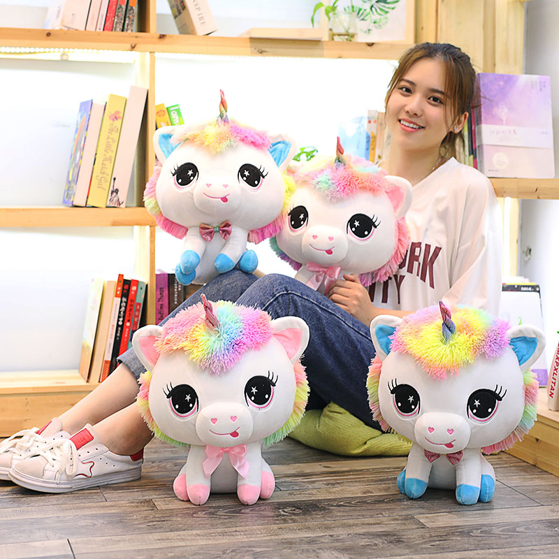купить 1pc 35cm Lovely Unicorn Plush Toys Soft Stuffed Cartoon Unicorn Dolls Cute Animal Horse Toys for Children Girls Birthday Gift по цене 748.65 рублей