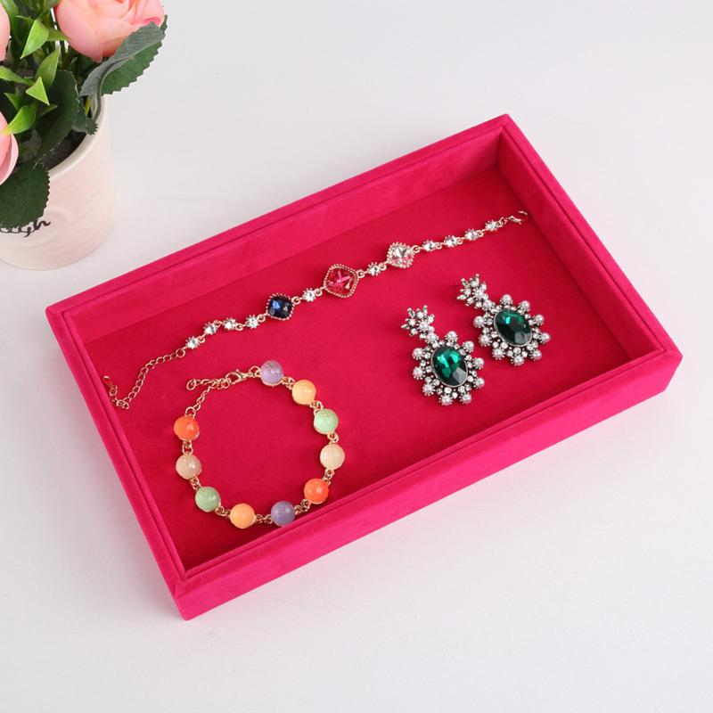 New Jewelry Box Tray Earrings Bracelet Necklace Earring Ring Display Stand Organizer Holder Velvet Jewelry Display Rack