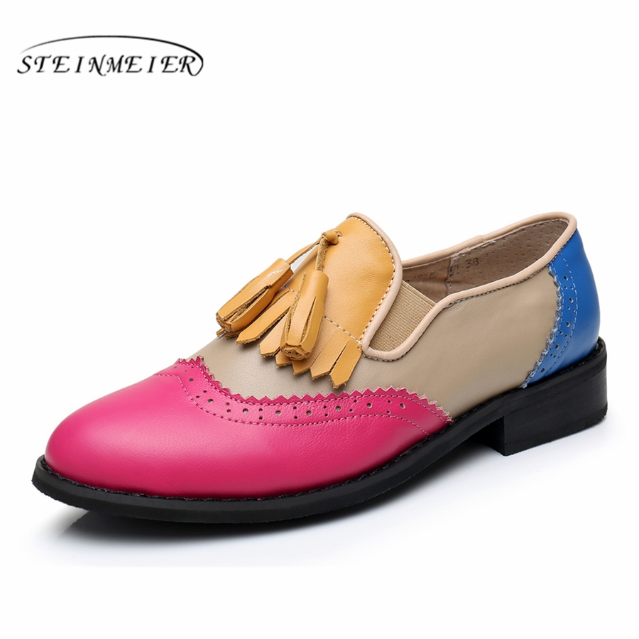 Genuine leather big woman US11 designer vintage flat rose blue shoes round toe handmade tassel yellow oxford shoes for women fur