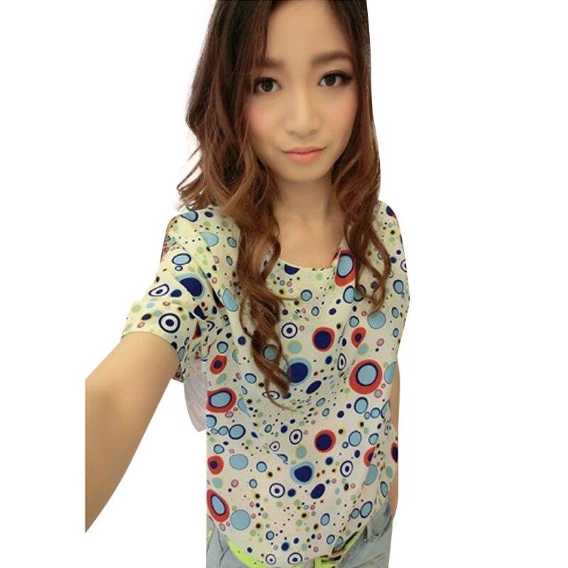 2015 Women Spring Summer Vest Shirts Fashion Short Sleeve Cartoon Print Chiffon Tops eight styles WF-4560