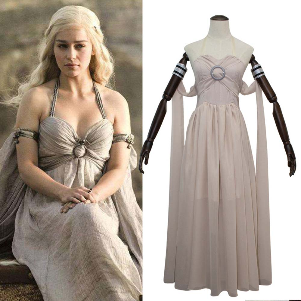 Game of Thrones Costume Daenerys Targaryen Cosplay Mother of The Dragon Clothes Halloween Costumes for Women Rice White Dress