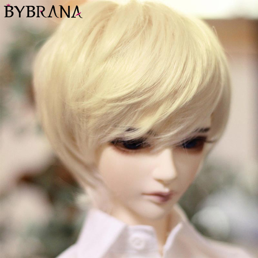Bybrana 1/3 1/4 SD BJD Black Pink Golden Brown Wigs With Bangs Doll Hair