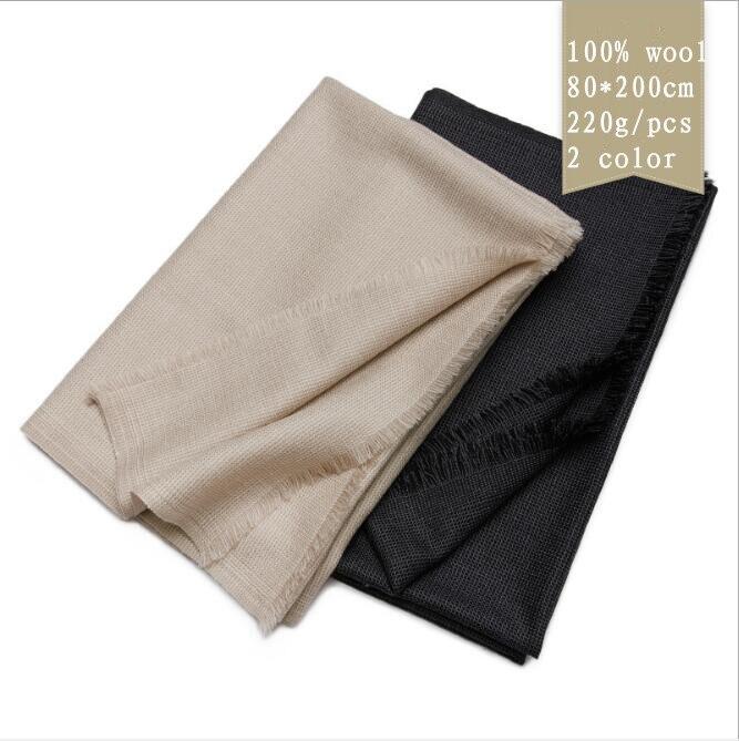 Naizaiga 100% Lnner Mongolia Wool Scarf 80*200cm Black Men Winter Scarf , Women Spring Fashion Big Solid Shawl,QYR41