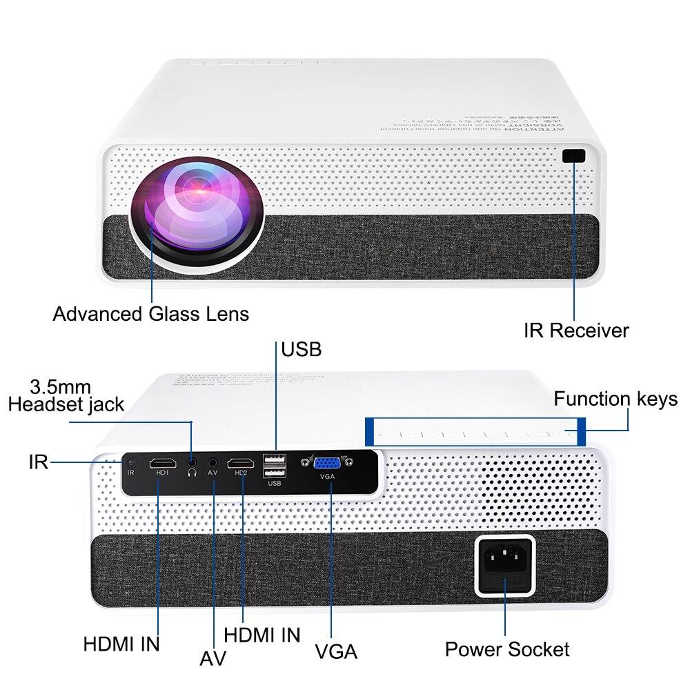 Vivicine M19 plus récent 1080p projecteur, Option Android 9.0 HDMI USB PC 1920x1080 LED full hd Home cinéma vidéoprojecteur Proyector - 4