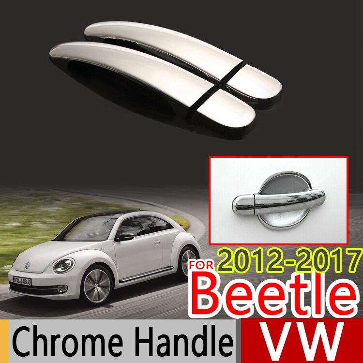 Prix pour Pour VW Beetle 2012-2017 Chrome Poignée De Porte Couvre L'équilibre Set de 2 Pcs Volkswagen New Beetle Voiture Accessoires Voiture Style 2013 2014