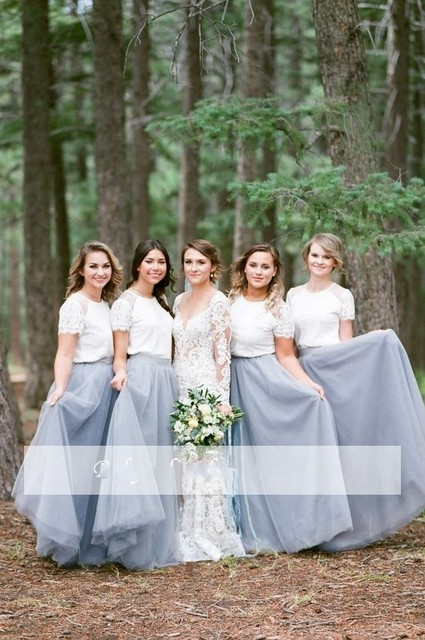 Dusty Blue Bridesmaid Dresses Tulle Long Plus Size Maid of Honor Gowns for Weddings  Applique Tulle Wedding Guest Dress Cheap 63cf9e1957c2