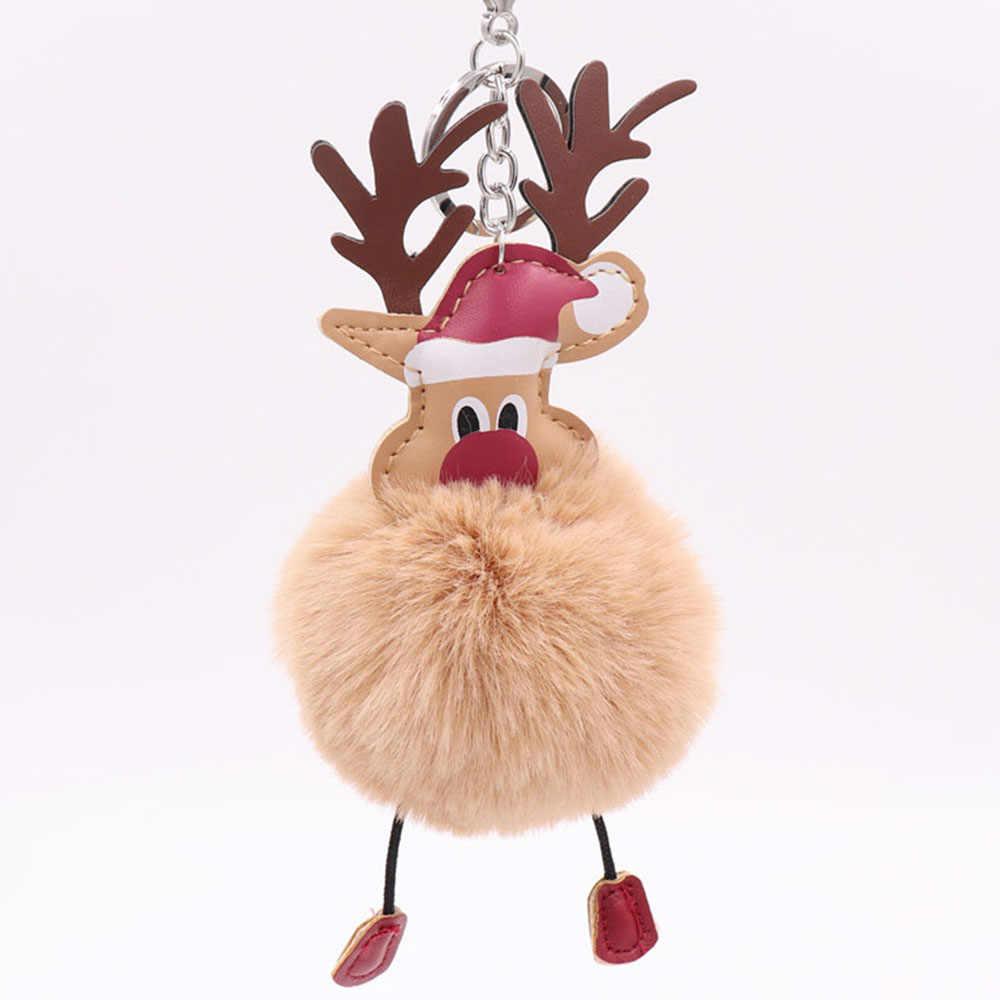 Bonito Do Natal De Papai Noel Chaveiro Bola De Pêlo Macio Rex Coelho Pom Pom Keychain Titular Mulheres Saco Encantos Chaveiro Pingente Presente