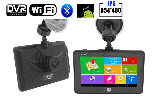 New Car GPS navigator 4.5 polegada touchscreen IPS 854*480 HD 1080 P DVR câmera MT8127 Quad Core 4 CPU DDR3 512 MB Android4.4.0