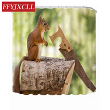 цена на Lovely Wood Squirrel Parrot Eagle Printing Shower Curtain Polyester Waterproof Mildew Bathroom Curtain With 12 Hook